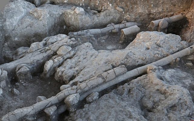 Remains of a Roman pipe from Legio, a military camp from the 2nd and 3rd centuries CE, next to Megiddo (courtesy)