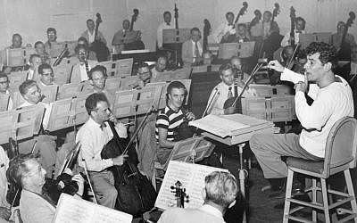 Leonard Bernstein leads the Boston Symphony Orchestra in a rehearsal at Tanglewood for the Serge Koussevitzky Memorial Concert in August 1952. (Courtesy the Boston Symphony Orchestra)