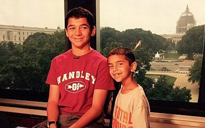 Joseph Rosenfeld (left), and his brother, Adam, visiting the Fox & Friends studio in Washington, DC, July 9, 2015. (Scott Rosenfeld)