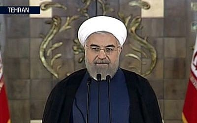 Iranian President Hassan Rouhani making a statement following announcement of the Iran nuclear deal, Tuesday, July 14, 2015 in Tehran. (Press TV via AP video)
