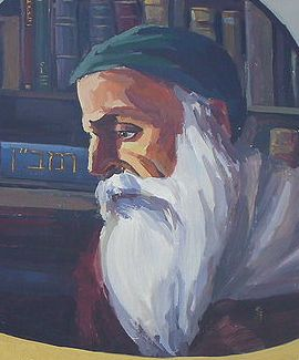 Wall painting of Rabbi Moses ben Nahman, at Acre Auditorium (Chesdovi / Wikipedia)