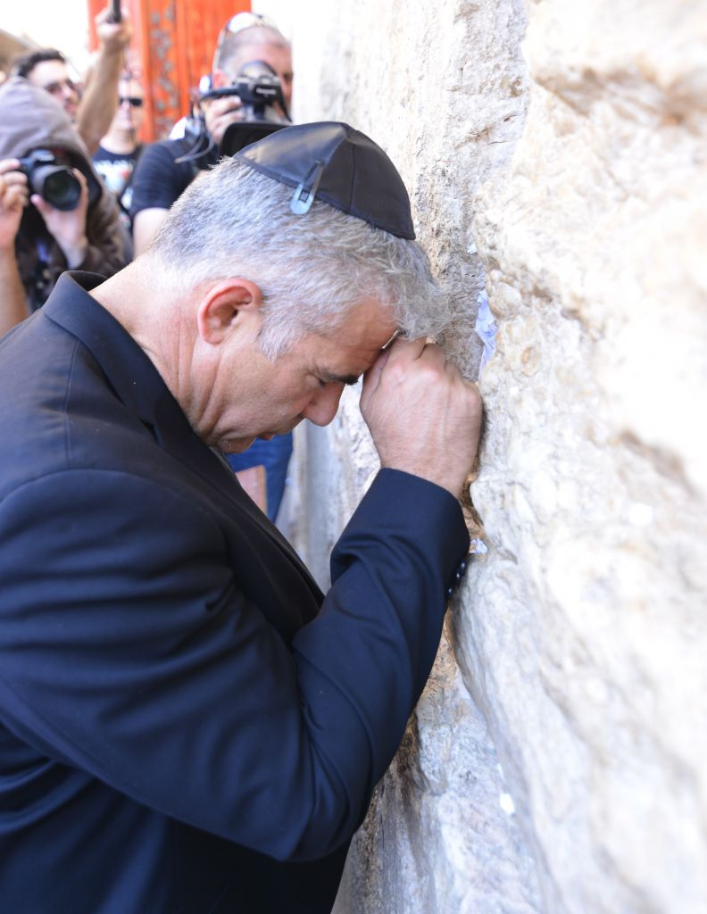 Yesh Atid leader Yair Lapid at the Western Wall in the Old City in Jerusalem, on Monday, July 13 2015. Oren Hassidim)