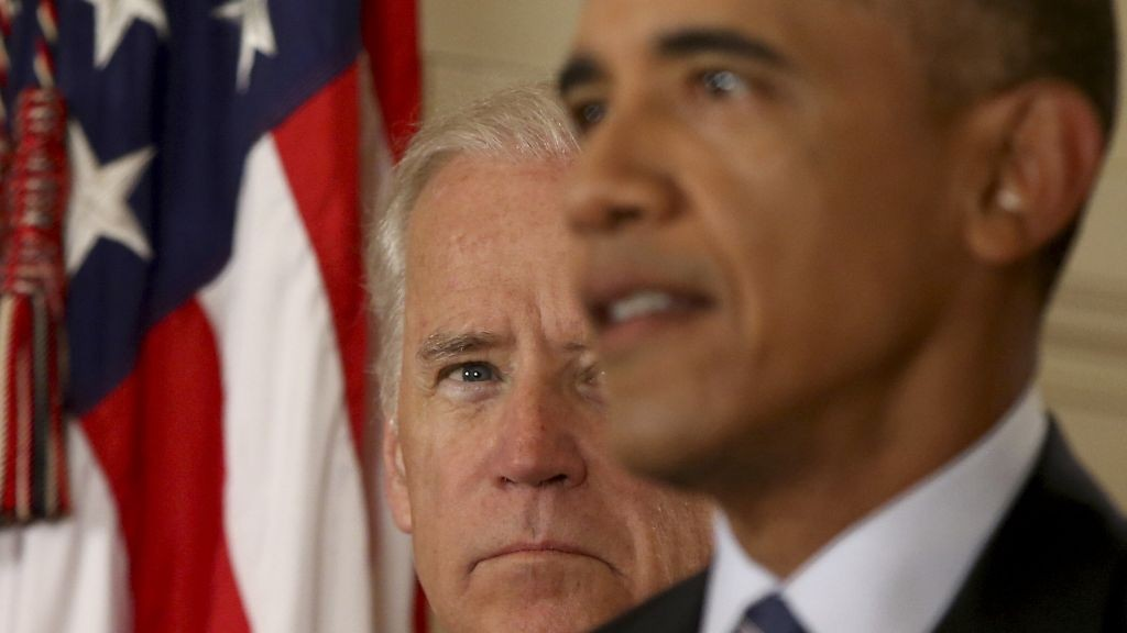 Vice President Joe Biden listens as President Barack Obama delivers remarks in the East Room of the White House in Washington, Tuesday, July 14, 2015, after an Iran nuclear deal is reached. (AP Photo/Andrew Harnik, Pool)