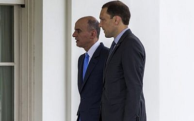 Saudi Foreign Minister Adel al-Jubeir, left, arrives at the White House in Washington, Friday, July 17, 2015, for a meeting with President Barack Obama about the Iran nuclear deal. (AP/Evan Vucci)