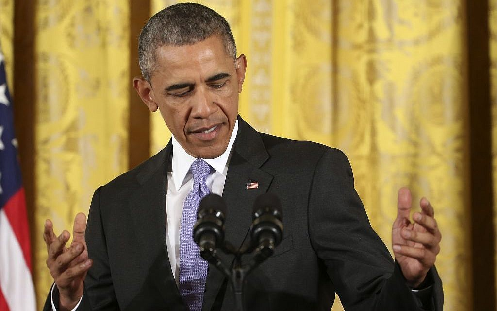 US President Barack Obama steps to the podium before making an opening statement during a news conference in the East Room of the White House in Washington, Wednesday, July 15, 2015 (AP Photo/Pablo Martinez Monsivais)