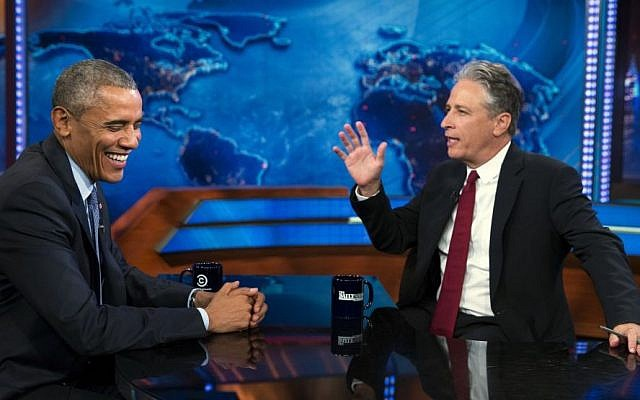 """President Barack Obama, left, talks with Jon Stewart, host of """"The Daily Show"""" during a taping on Tuesday, July 21, 2015, in New York. (AP/Evan Vucci)"""