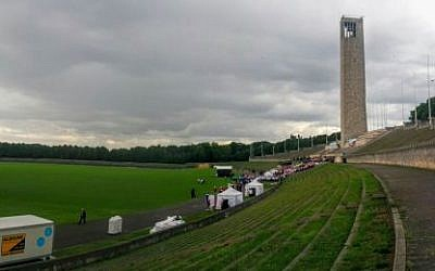 A view of the Berlin stadium with the 2015 Maccabi games are being held. July 28, 2015 (Ilan Ben Zion/Times of Israel)