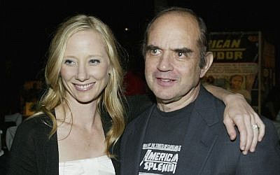 "Anne Heche and  Harvey Pekar attend the Los Angeles film premiere after party for ""American Splendor"" at the Cinerama Dome on August 7, 2003 in Hollywood, California.  (Frederick M. Brown/Getty Images)"