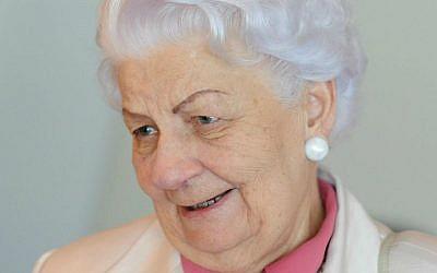 Rescuer Maria Lopuszanska speaks at an event gathering nearly 50 elderly Christian Poles who saved Jews during World War II, in Warsaw, Poland, Sunday, July 12, 2015. (AP Photo/Alik Keplicz)
