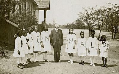 Julius Rosenwald with students from a Rosenwald School (Courtesy of Fisk University, John Hope and Aurelia E. Franklin Library/ via JTA)