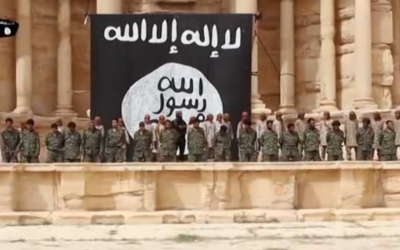 Image from an Islamic State video showing the mass execution of Syrian soldiers on the stage of the amphitheater in the ancient city of Palmyra, Syria shortly after the group captured the city on May 21, 2015. (screen grab: YouTube)