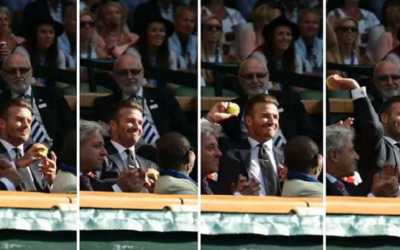 David Beckham catches the ball as it deflects into the Royal Box at Wimbledon, then throws it back, July 9, 2015 (YouTube screenshot/Wimbledon twitter)