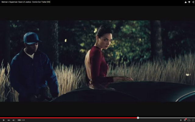 Gal Gadot as seen in the trailer for Batman v. Superman