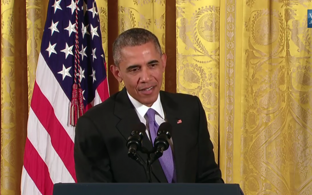 President Barack Obama holds a press conference at the White House on July 15, a day after the Iran nuclear deal was signed (White House livestream)