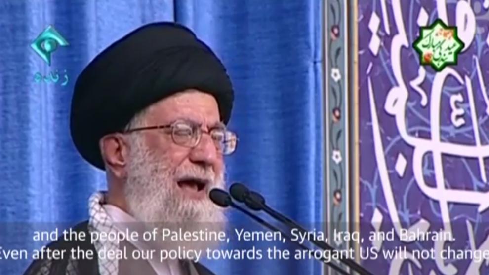Iran's Supreme Leader Ayatollah Ali Khamenei speaks in Tehran on July 18, 2015 (Guardian screenshot)