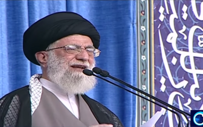 Iran's Supreme Leader Ayatollah Ali Khamenei speaks in Tehran on July 18, 2015 (Iran Press TV screenshot)
