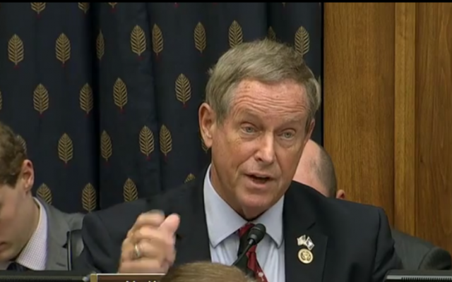 Rep. Joe Wilson of South Carolina reads out an op-ed by ToI's David Horovitz at the House hearing on the Iran nuclear deal, July 28, 2015