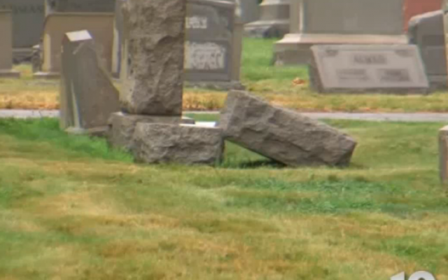 Toppled gravestones at Philadelphia Jewish cemetery, July 31, 2015 (NBC screenshot)