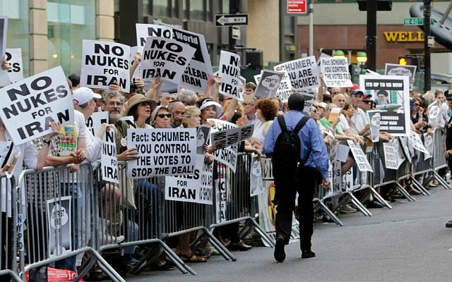 Supporters line Seventh Avenue during the 'Stop Iran' protest near Times Square in New York City, July 22, 2015. (AP/Frank Franklin II)