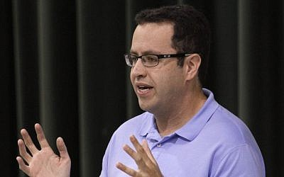 Longtime Subway frontman Jared Fogle speaks to students about healthy eating and exercise at Battle Academy in downtown Chattanooga, Tennessee, on September 18, 2013. (Dan Henry/Chattanooga Times Free Press via AP, File)