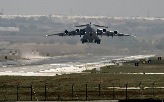 A US Air Force plane takes off from the Incirlik airbase in southern Turkey, September 1, 2013. (AP/Vadim Ghirda, File)
