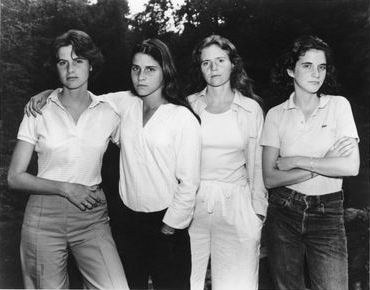 Nicholas Nixon's first portrait of The Brown Sisters in 1975, from the Israel Museum collection; Gelatin silver print In honor of Jerry, Ellen, and Avi Stern (Courtesy Israel Museum)