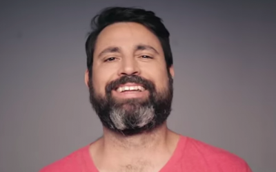 Mooki, the bearded husband, father and son who shocks him family when he shaves his beard for a BBR commercial (Courtesy YouTube screen grab)