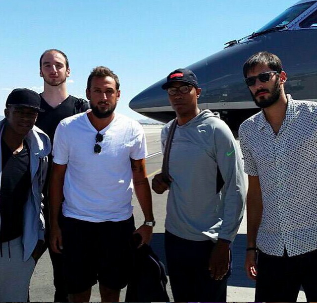 Casspi posted this photo of himself (third from left) with the caption '#family' during a trip to Israel with fellow players (Courtesy Omri Casspi Instagram)