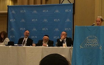 A speaker at a panel at the RCA's recent annual convention in Tarrytown, New York (JTA, Courtesy of RCA)