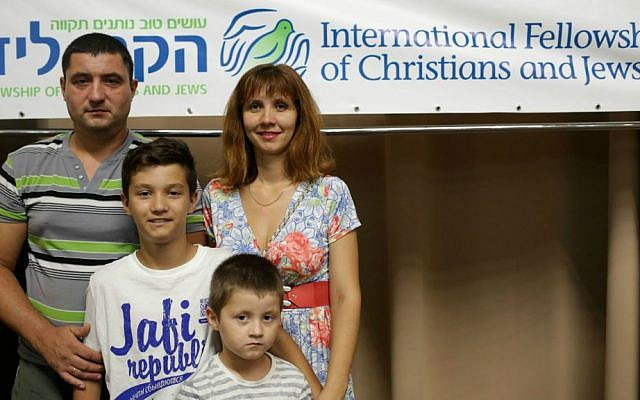 The Krugolov family, Alex, Anna and their two sons, Daniel and Michael, were among 161 Ukrainian immigrants who arrived at Ben-Gurion Airport on July 27, 2015. (Anastasia Vlasova)