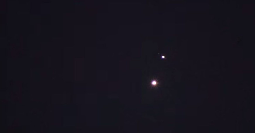 Venus and Jupiter seen in convergence, June 30, 2015 (YouTube screenshot)