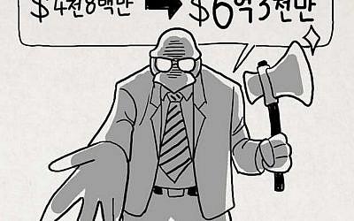 Cartoon depicting Paul Singer as a vulture-like figure holding an ax and demanding money.