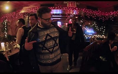 Seth Rogen has a moment with New York Hassids in a Chinese restaurant on Christmas eve in his November release, 'The Night Before.' (YouTube screenshot)