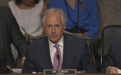 Senator Bob Corker, Chairman of the Senate Committee on Foreign Relations, addresses a session on the nuclear deal with Iran, in Washington on Thursday, July 23, 2015 (screen capture: YouTube)