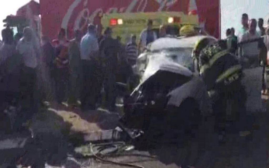 The scene from a fatal crash in northern Israel on July 26, 2015. (Scree capture: Alarab.net)
