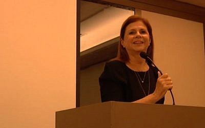 "Dalia Rabin speaks at the book launch for ""Rabin: 20 Years After,"" on June 30, 2015 (YouTube screenshot)"
