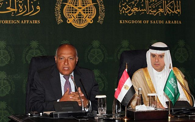 Saudi Foreign Minister Adel al-Jubeir (right) and his visiting Egyptian counterpart, Sameh Shoukry, at a joint press conference on July 23, 2015 in the Saudi city of Jeddah (AFP)