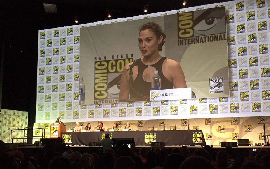 Israeli actress Gal Gadot answers an audience question at the San Diego Comic-Con International on July 11, 2015. (Karen Yossman/The Times of Israel)