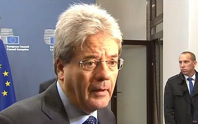Italian Foreign Minister Paolo Gentiloni (YouTube screen capture)
