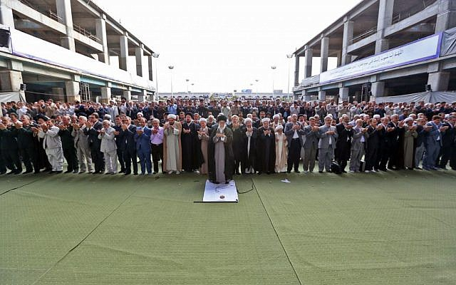 Iran's Supreme Leader Ayatollah Ali Khamenei leading prayer in Iran on Saturday, July 18, 2015. (Khamenei.ir)