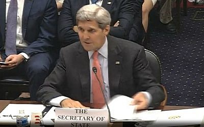 Secretary of State John Kerry addresses the House Foreign Affairs Committee on the Iran agreement, July 28, 2015. (screen capture)