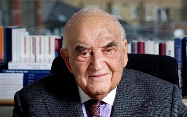 Lord George Weidenfeld, 95, escaped Vienna for the United Kingdom in 1938. In Britain he was helped by Christian organizations. (courtesy)