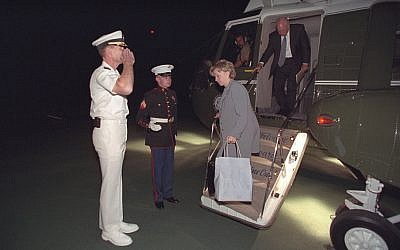 Then-vice president Dick Cheney and his wife Lynne Cheney disembark from Marine Two at Camp David on September 11, 2001. (photo credit: US National Archives)