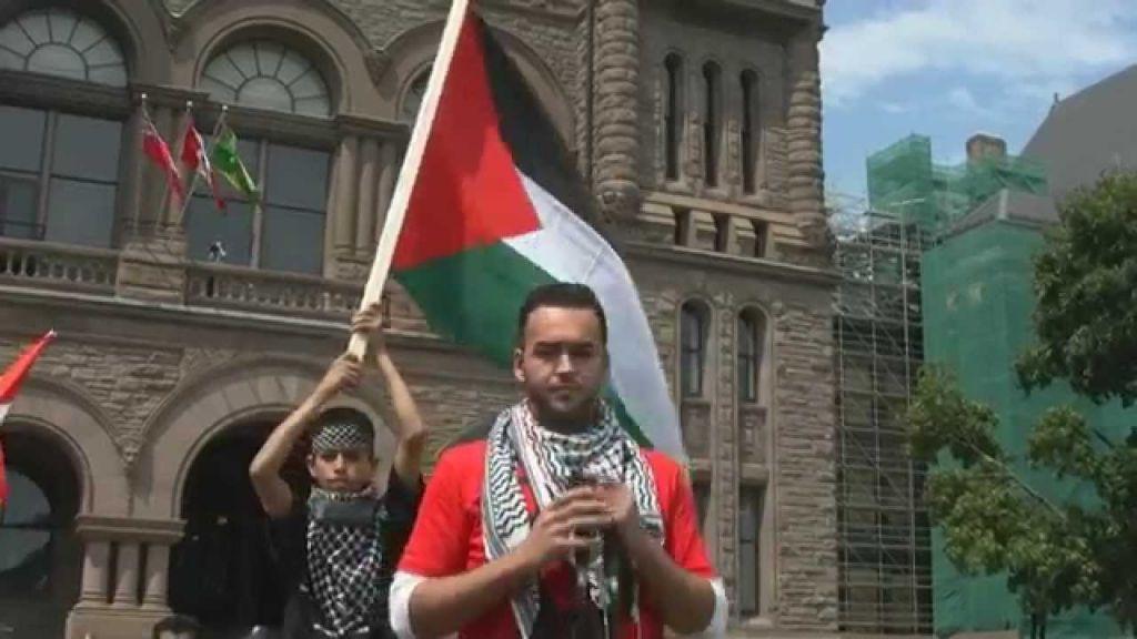 A scene from Toronto's 2014 Al-Quds Day rally in Queen's Park, Ontario's legislative grounds. (YouTube screenshot)