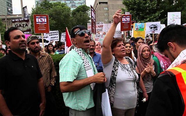 A scene from Toronto's 2014 Al-Quds Day rally. (YouTube screenshot)