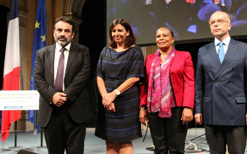 From left, Consistoire President Joel Mergui, Paris Mayor Anne Hidalgo, French Justice Minister Christiane Taubira and Interior Minister Bernard Cazeneuve at a gala dinner for the new cultural center in Paris held at City Hall, June 29, 2015. (Alain Azria/JTA)