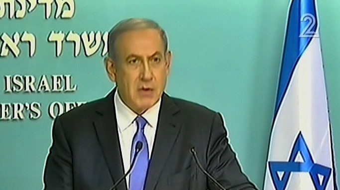 Prime Minister Benjamin Netanyahu addresses the foreign press regarding the nuclear deal with Iran (screen capture: Channel 2)