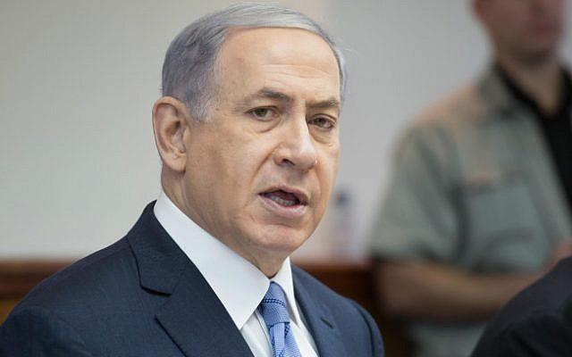 Prime Minister Benjamin Netanyahu speaks at the weekly cabinet meeting in Jerusalem on July 5, 2015. (Flash 90/Emil Salman/POOL)
