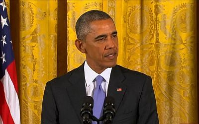 US President Barack Obama addresses journalists on the nuclear deal with Iran, July 15, 2015. (screen capture: CBS)