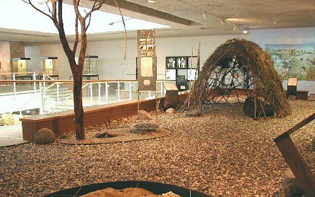 A display at Haifa University's Hecht Musuem shows what the Ohalo II site may have looked like (Dani Nadel/Haifa University)